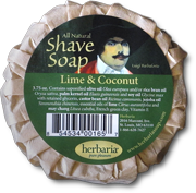 Herbaria all natural lime and coconut oil shave soap photo
