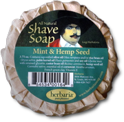 Herbaria all natural mint and hemp seed oil shave soap photo