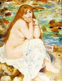 woman bathing with herbaria all natural handmade soap painting